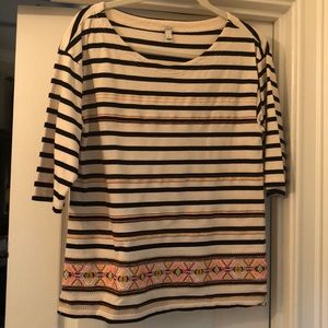 J. Crew Striped Embroidered Top